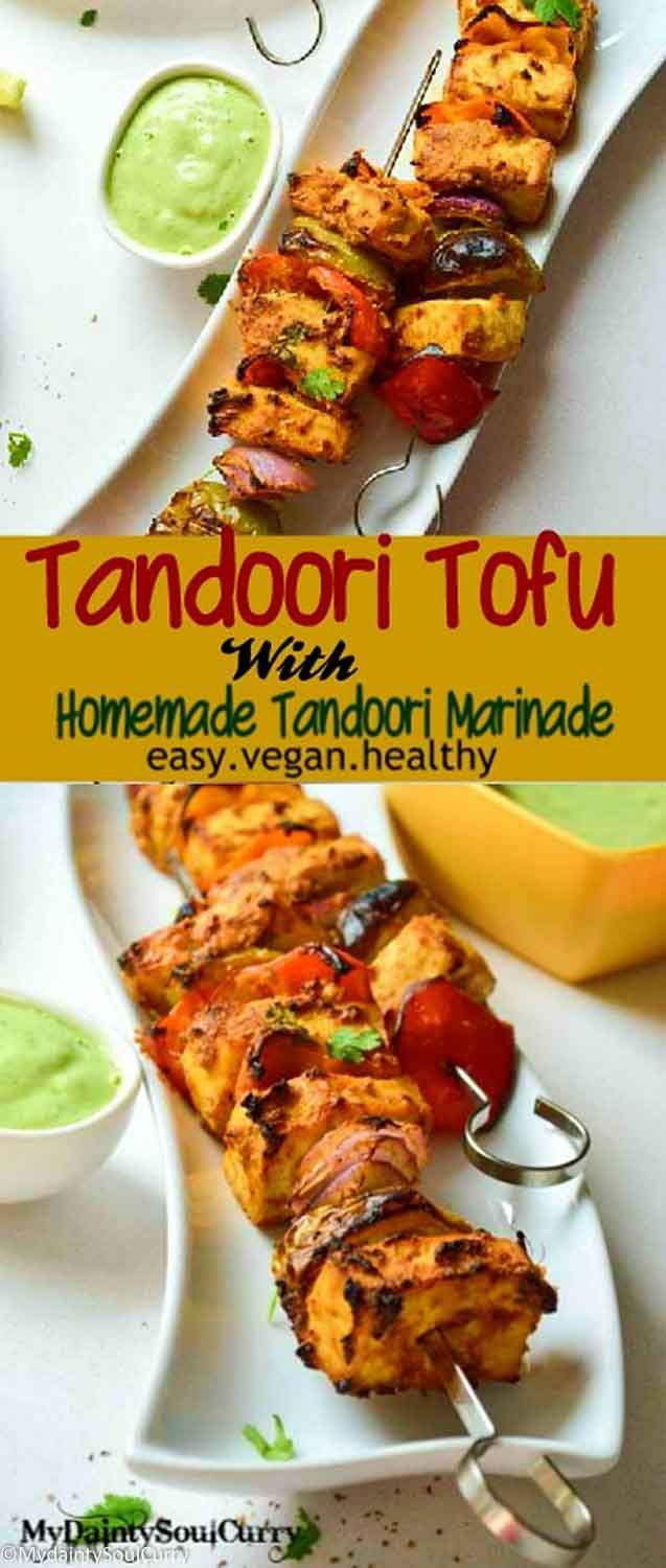 Tandoori tofu with homemade tandoori marinade, made from curry paste! Quick and easy, #vegan