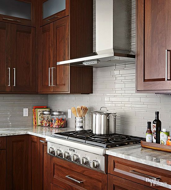 Gray Kitchen Backsplash Ideas: Glass Tile Backsplash Inspiration