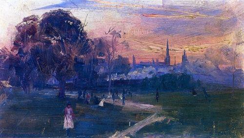 Evening Game, 1889 by Arthur Streeton. Impressionism. landscape