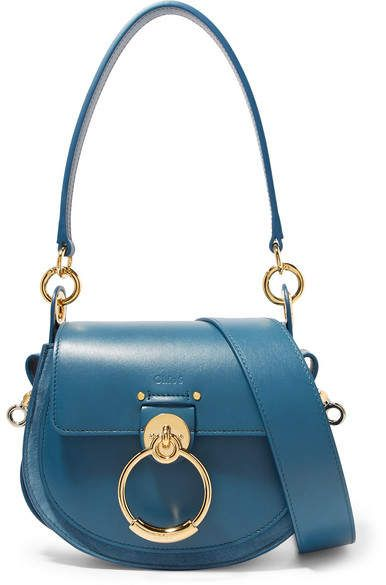 b68a66b0 Chloé Tess Leather And Suede Shoulder Bag - Blue | Products | Purse ...