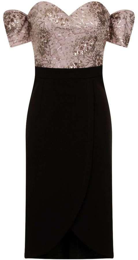 **Little Mistress Mink and Black Bardot Dress