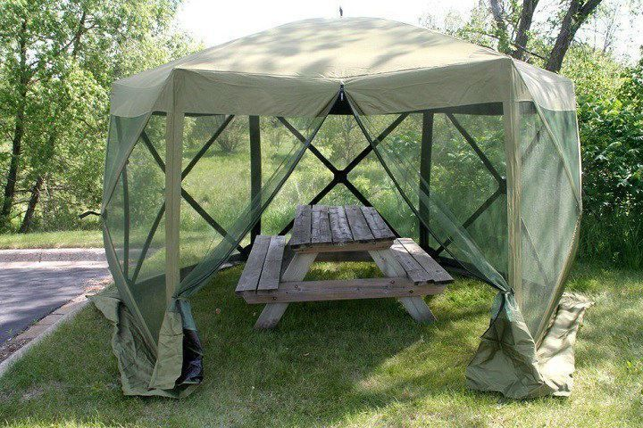 Outdoor Canopy Tent 12 x12 Hub Screen Sun Shade Mosquito Net Pop Up Shelter #CLAM #PopUp