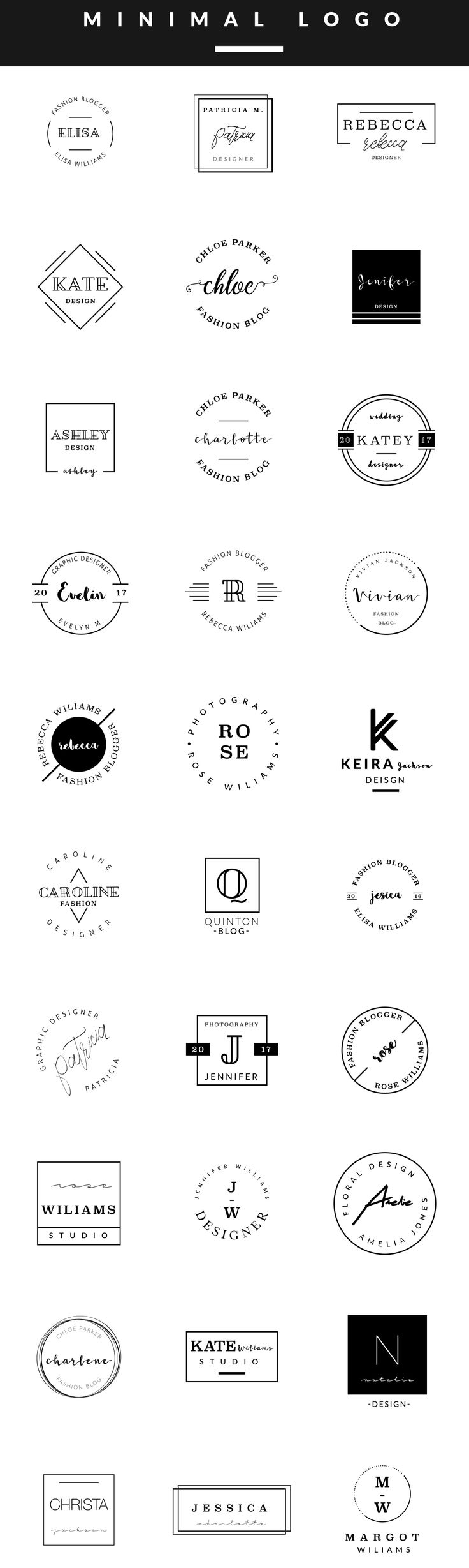 Feminine Logo Templates MINIMAL by Graphic Dash on @creativemarket