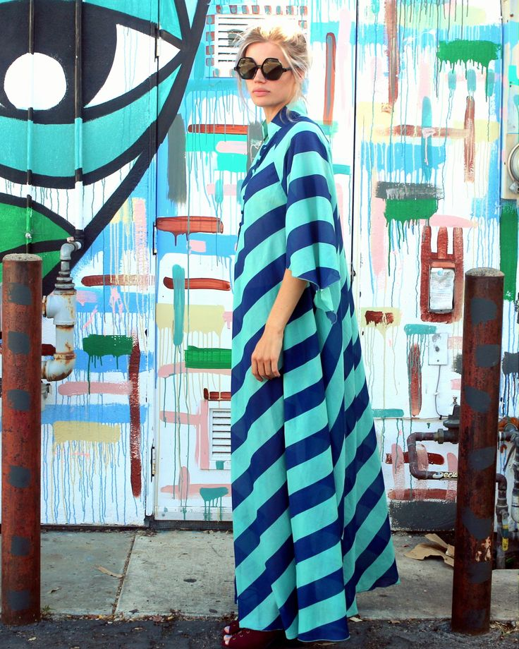 honey of california festival maxi dress blue stripe san clemente side view