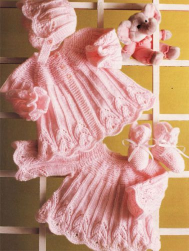 Girls-Dress-coat-boots-bonnets-knitting-pattern-lovely-design-in-DK-wool