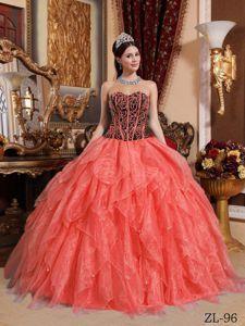 Beautiful Orange Red Beading Dress for Sweet 16 with Ruffles