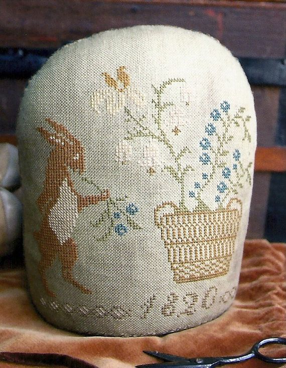 Primitive Folk Art Cross Stitch Pattern: SPRING HARE Standing PINKEEP -- Stacy Nash Design via Etsy