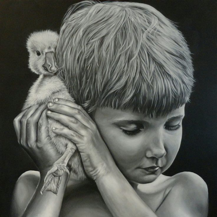 "NZ/NL Artist: FJS-Art - Acrylic painting on canvas - ""everyone needs a hug"" - Raumati beach - New Zealand - Dutch - Animals - homedecoration - duckling - boy - eend - wallART - www.fjs-art.com"