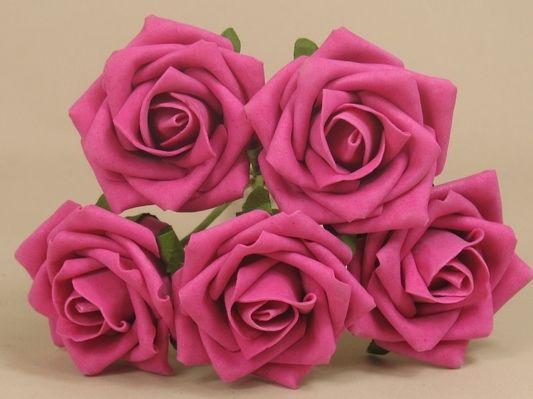 30 X Hot Pink Foam Roses Colourfast 6cms Diameter Foam
