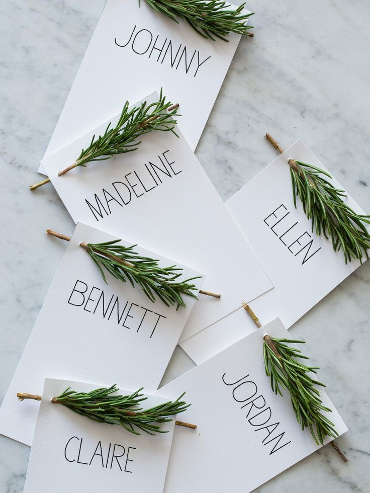For Your Holiday Table This Year: Rosemary Sprig Place Cards