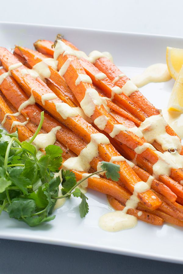 Moroccan Spiced Roasted Carrots with Lemon Yogurt Sauce - a flavorful ...