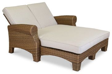 Santa Cruz Double Chaise With Cushions, Canvas Flax With Self Welt - Traditional - Outdoor Chaise Lounges - by Sunset West Outdoor Furniture