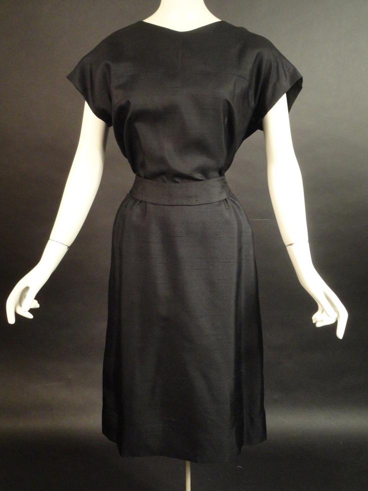 1950s Black Silk Dress