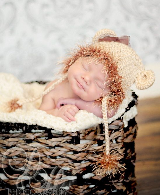 Baby Crochet Lion Hat Baby Hat with Ears Newborn by BabyGraceHats, $26.00