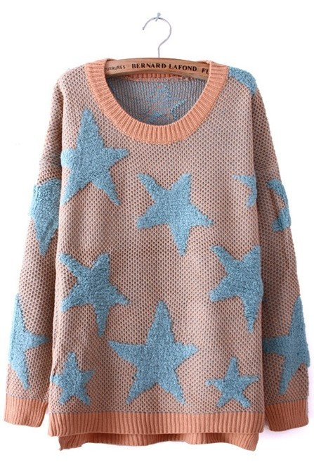 Pink Blue Star Pattern Dip Hem Batwing Sleeve Sweater