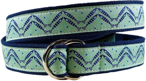 Women's belt with pattern Herringbone designed by Solvejg Makaretz. Made by Belted Cow in Maine.