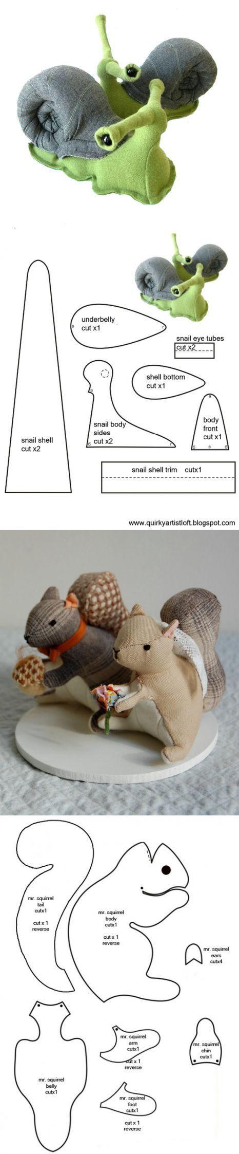 caracol e esquilos: