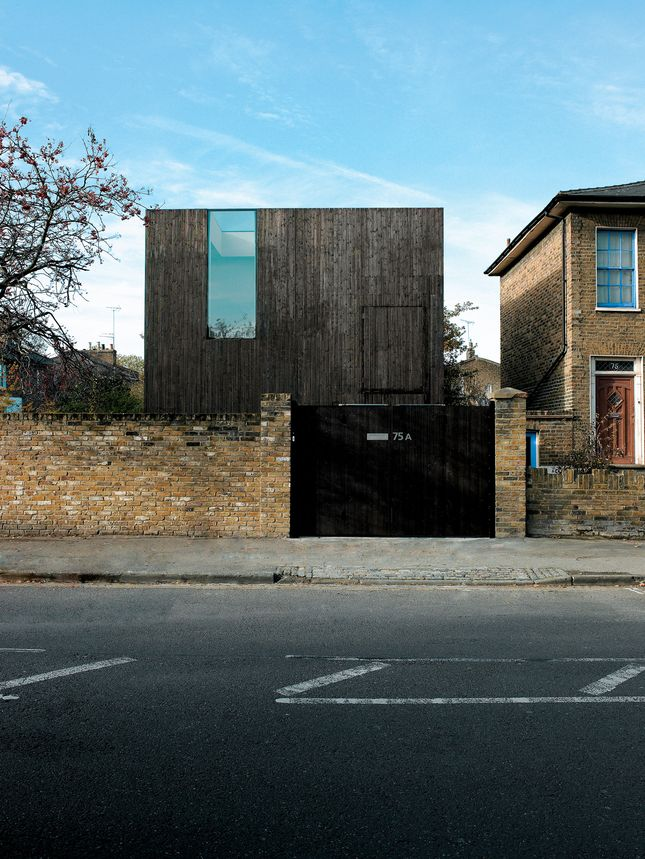 sunken house exterior street view