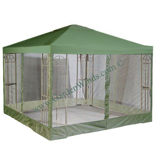 Garden Winds 10' x 10' Single Tiered Replacement Gazebo Canopy and Netting Set - GREEN by Garden Winds. $129.99. # THE MOST HIGHLY RATED UNIVERSAL CANOPY ON THE MARKET!!! Read our Bizrate, Google Shopping, and In-Store Customer Reviews.. Four-sided mosquito netting attaches to canopy via zipper.. Industry leading 350-Denier fabric (on average 25% thicker than original canopies). Do not settle for a lesser grade inferior universal canopy that may be $5 or even ...