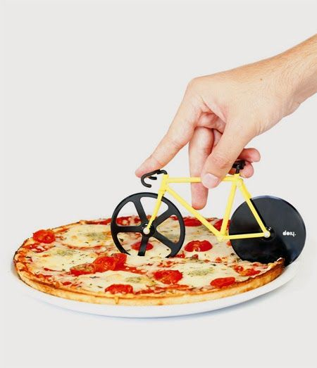 Small Wheels to Slice Pizza  Fixie Pizza Cutter created by Doiy. Sharp small wheels to slice #pizza straight into delicious #slices seem like a small fixed gear #bicycle.
