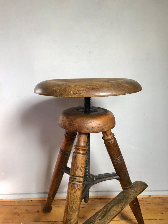 Hoher Werkstatthocker Hocker Schusterhocker Vintage 3 Bein Stool Handmade Decor