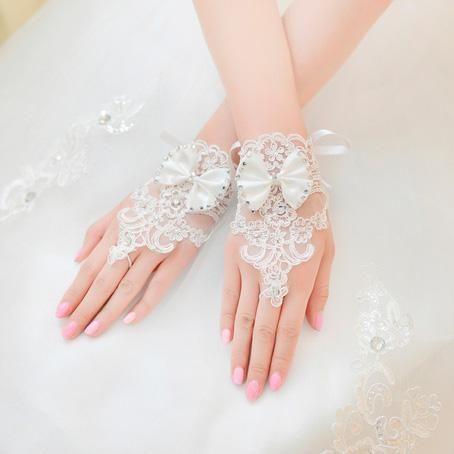 pedrinhas lace apliques fingerless pulso comprimento com luvas de noiva laço de fita frisado vermelho ou branco