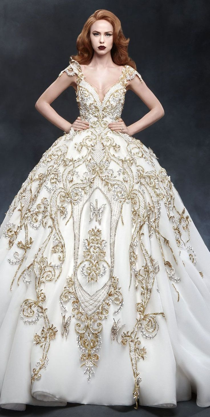 cap sleeves deep plunging neckline gold fully embellishment full ball gown wedding dress with royal train Dar Sara 2017 Wedding Dresses #wedding #weddingdress #weddinggown