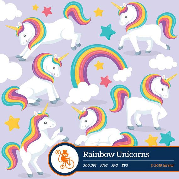 Rainbow Unicorns Clipart Rainbow Digital Clipart Vector Unicorn