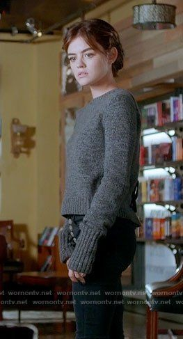 Aria's grey sweater with lace-up back on Pretty Little Liars.  Outfit Details: https://wornontv.net/72586/ #PLL