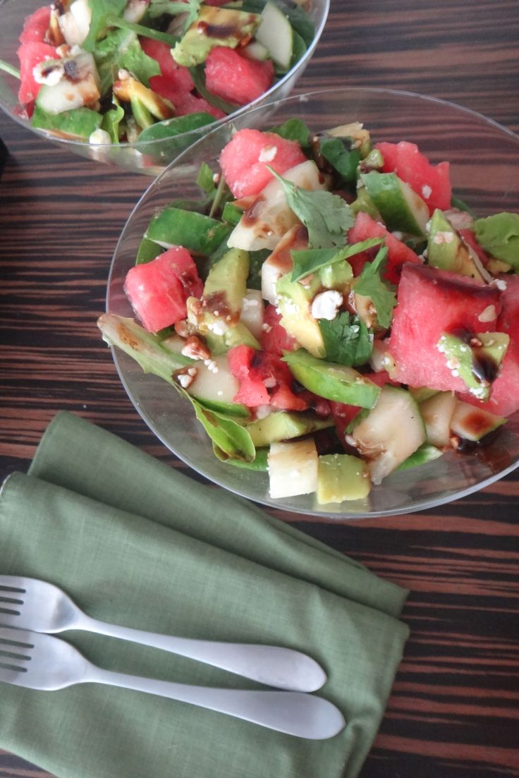 """Planning a 4th of July weekend getaway? Don't forget to pack something fresh! Try our """"MARTINI SALAD"""" packed with cool #watermelon, creamy #avocado, crisp #cucumbers & #feta cheese... This #salad is perfect after a long day under the grueling Summer sun. Click on the link to access the #recipe. ENJOY!"""