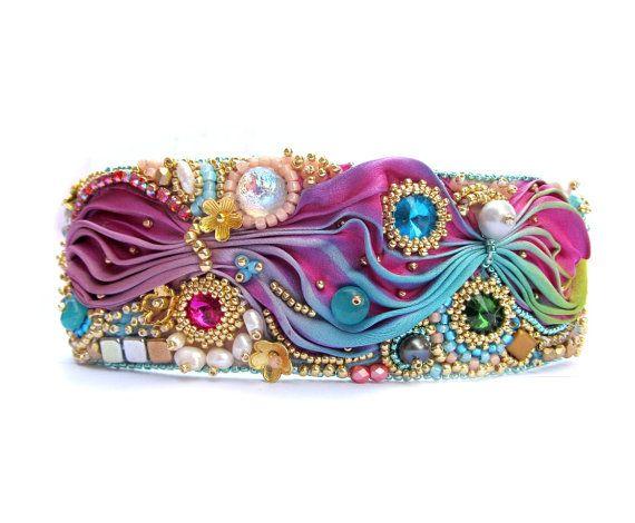 Shibori Cuff Bracelet Colorful Handmade by GiSoutacheJewelry