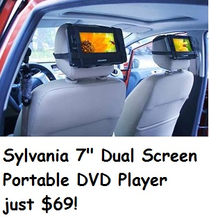 Sylvania Dual Screen DVD Player just $69!    http://www.groceryshopforfreeatthemart.com/2012/11/walmart-online-deal-sylvania-dual-screen-dvd-player-just-69/
