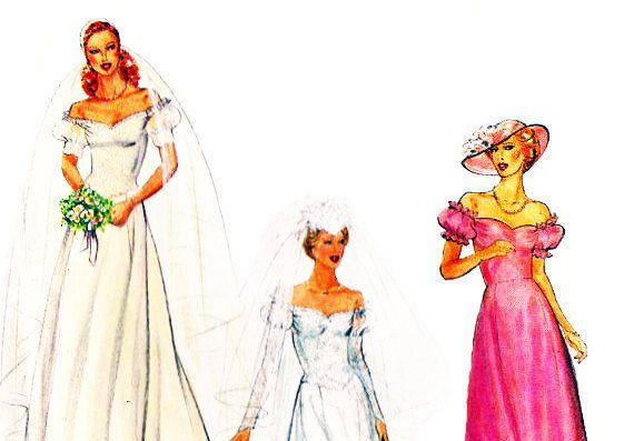 Butterick 4235; jaren 1980; Mist / mist Petite bruidsjurk. Bruids toga s avonds lang heeft gevormd uit de schouder hals, voorzien van bodice, uitlopende rok met prinses naadloos te verlijmen, terug rits sluiting en afneembare trein. Weergave A: bovenlijfje heeft kant en toegepast op de taille, pure overskirt, volledige lengte mouwen vormige op pols-, knop- en draad lus sluiten en kant korte mouwen kant. Weergave B: bovenlijfje heeft kant en toegepast op de taille, pure korte mouwen met k...
