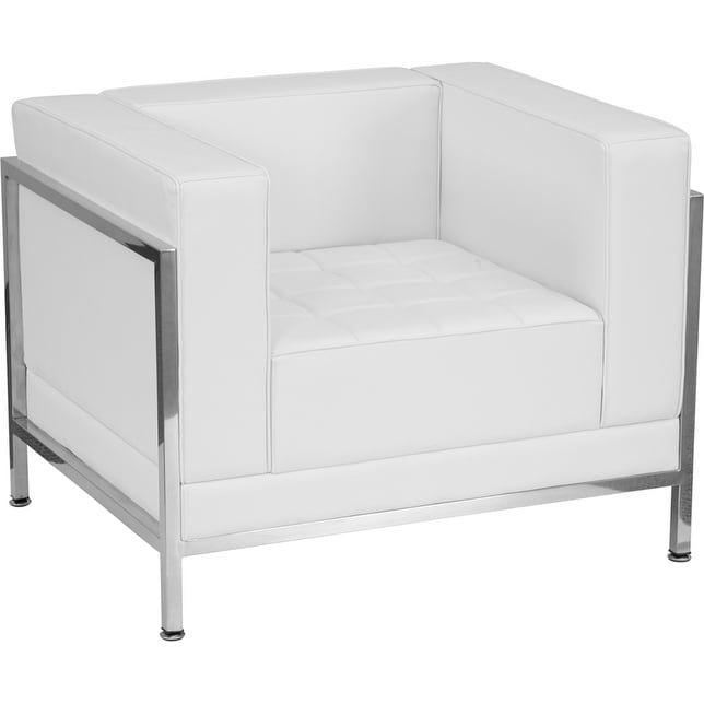 iHome Ariston White Leather Office Comfortable Reception/Guest Chair with Encasing Frame-FL5228