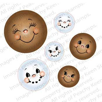 PK-0500 Snow Cuties Face Assortment- Clear Face Stamps for Die Cuts and Digital…