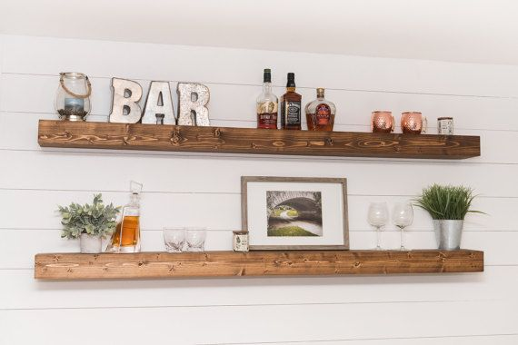 "LONG Floating Shelves (54""-72""), XL Floating Shelf, Kitchen Shelf, Rustic Shelf, Farmhouse Decor, Wall Shelf, Living Room Decor"