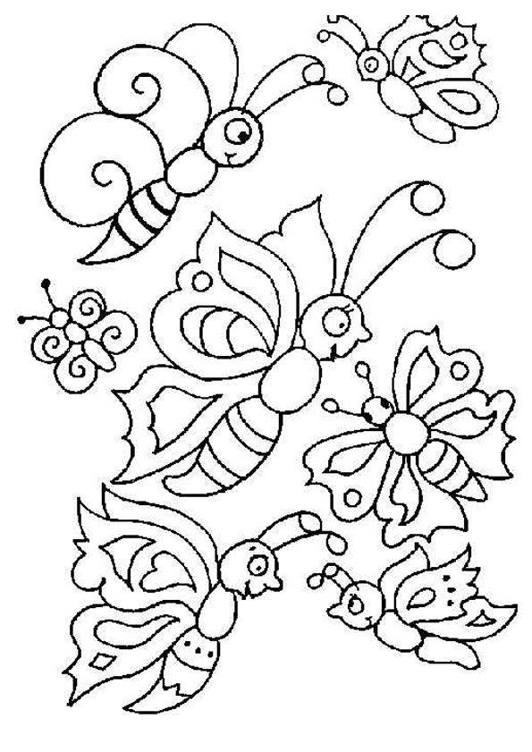 Dessin pour enfant de plusieurs papillons très contents de s'envoler, à colorier