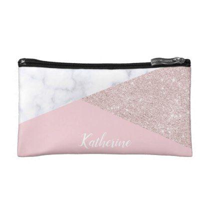 Elegant girly rose gold glitter white marble pink makeup bag - glitter glamour brilliance sparkle design idea diy elegant