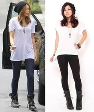 Pair a white t-shirt with leggings, combat boots, a beanie for an effortless, cool look.