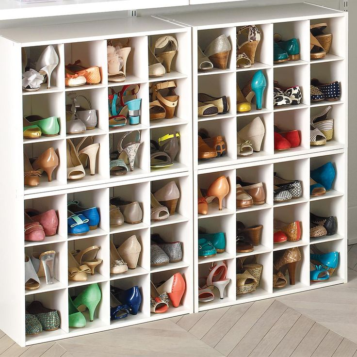 Our stackable 12-Pair Shoe Organizer is constructed from sturdy particleboard with a durable white paper laminate. Store shoes like loafers and low-heeled sandals in pairs in the individual compartments. Larger men's or athletic shoes are best stored with one shoe per opening. The organizer is also great for smaller purses and evening bags.