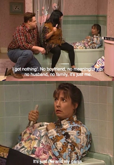 """Roseanne. The funniest episode ever!!! """" am I in the sink?? Am I shrinking?"""" """" what do u want dj???"""" hahaha. So funny."""