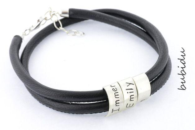 Armbänder - MÄNNER ARMBAND, HERRENARMBAND GRAVUR, MANN ARMBAND - ein Designerstück von bubidu bei DaWanda