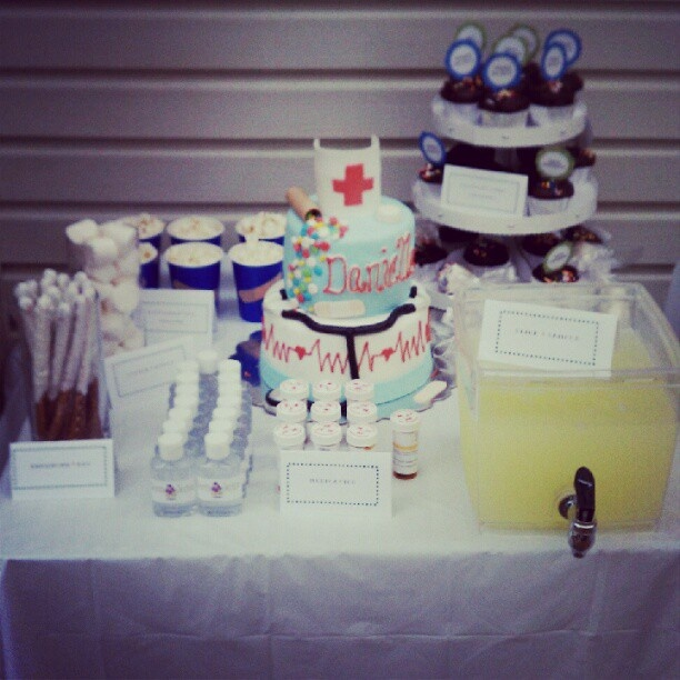 the nursing inspired display table od goodies at my graduation party... it was a big hit!!