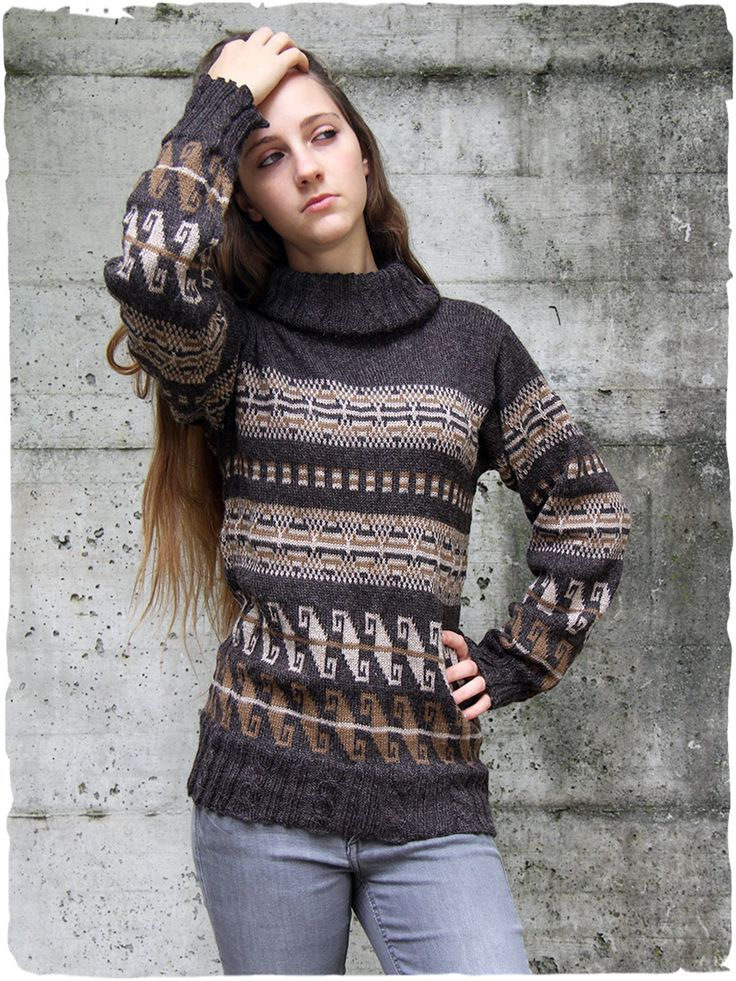 Yvonne T-Neck jumper of alpaca wool  #jumper with design #ethnic geometric. Work of plaits in the t-neck and on the bottom of the soft #alpaca #sweater and on the sleeves - See more at: http://www.lamamita.co.uk/en-US/store/winter-clothing/1/jumpers/yvonne-t-neck-jumper-of-alpaca-wool#sthash.EJA8Zl5P.dpuf