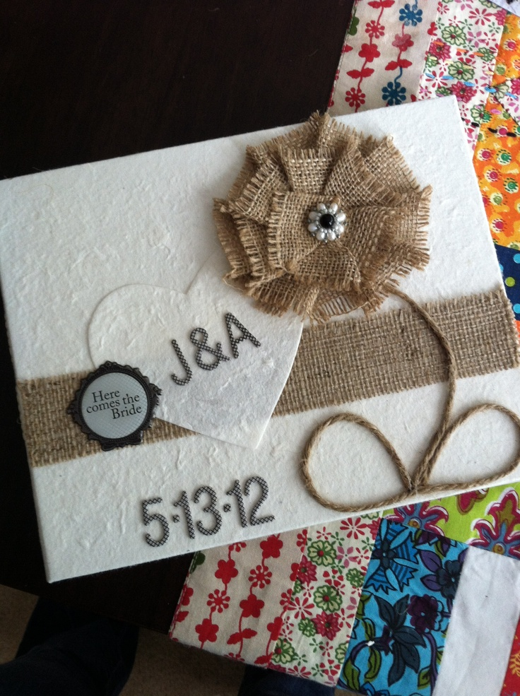 homemade wedding guest book.  like the idea for wedding invite
