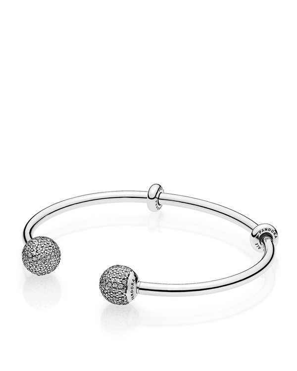 Pandora Bracelet - Sterling Silver & Cubic Zirconia Open Bangle, Fast Track Collection