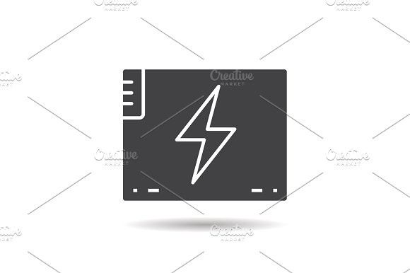 Accumulator battery glyph icon. Sport Icons