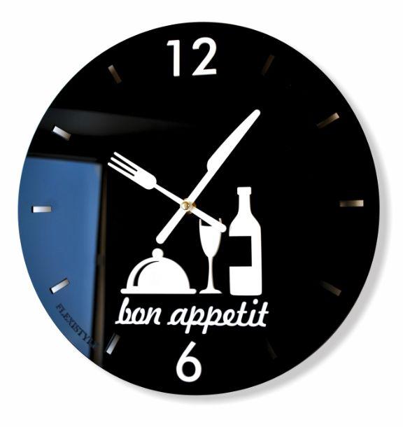 Nástenné hodiny do kuchyne čiernej farby