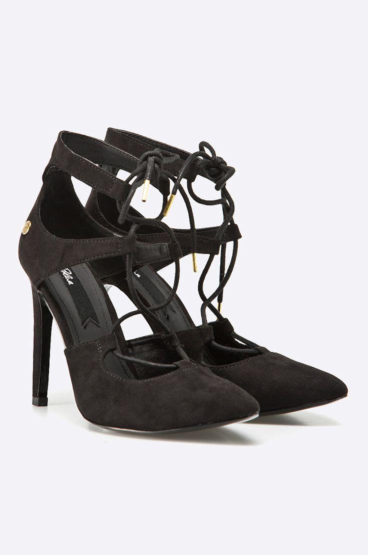 Pantofi negri cu inchidere pe glezna si toc cui - Blink -