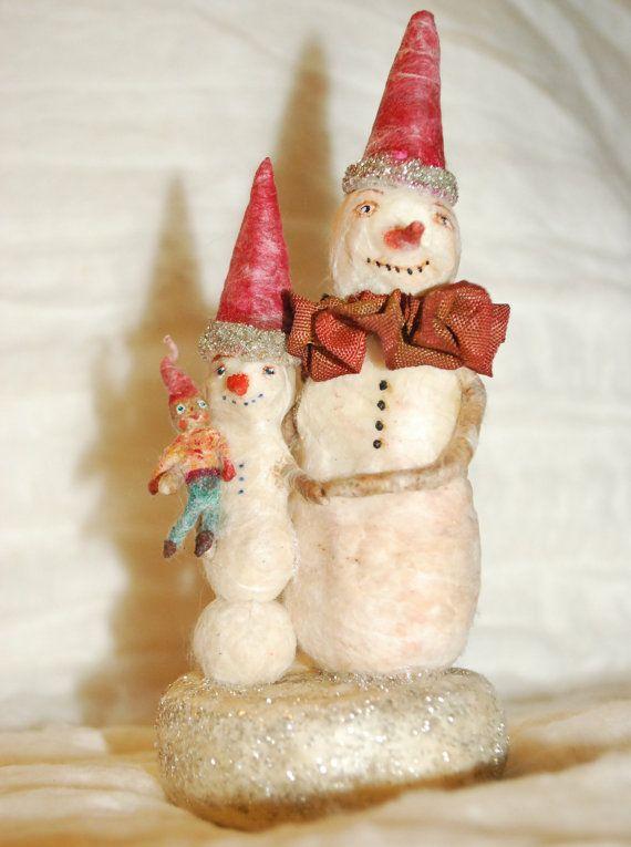Primitive spun cotton snowman pair a Father and son